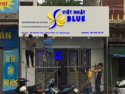 Thi công biển đại lý hãng Sơn Việt Nhật Blue