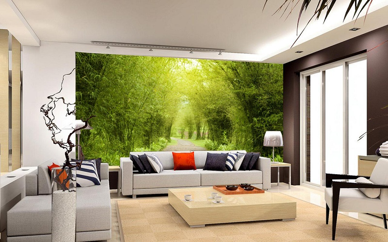 Thi công tranh dán tường phòng khách